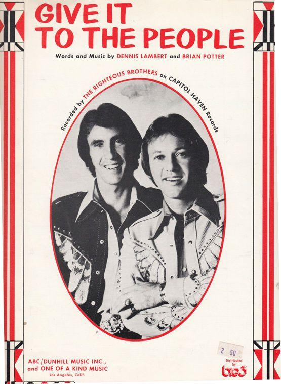 The Righteous Brothers Give It To The People XL Sheet Music