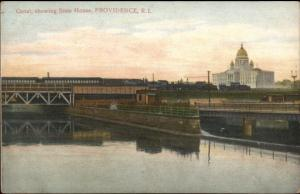 Providence RI Canal & State House RR Train c1910 Postcard