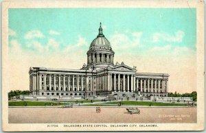 Oklahoma State Capitol OKC Postcard Street View / Fred Harvey #H-1734 / c1920s