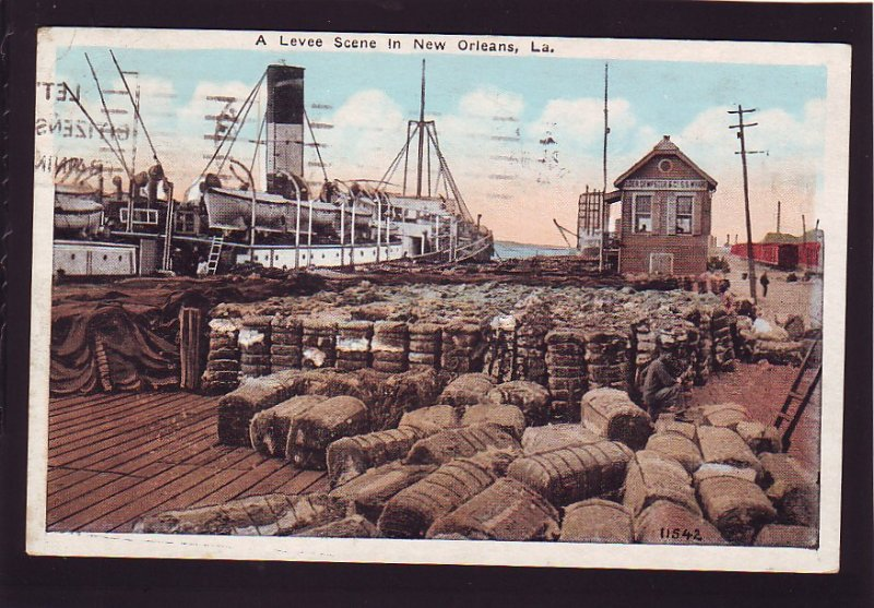 P1588 1926 used postcard ship levee scene loading cotton new orleans Louisiana