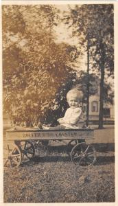 Real Photo~Little Blonde Baby in Toy Wagon~Roller Bearing Coaster~c1920s RP
