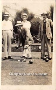 Old Vintage Lawn Bowling Postcard Post Card Men Bowling Real photo Sticker on...