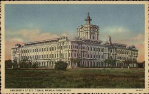 Manila Philippines University St. Thomas Used Stamps Cancel Linen Postcard