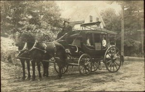 Taunton MA Stagecoach Stage Coach Good Local History on Back c1905 RPPC  G19