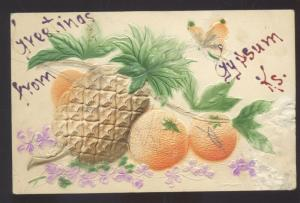 GREETINGS FROM GYPSUM KANSAS PINEAPPLE FRUIT VINTAGE POSTCARD 1909