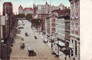 P1272 1912 used postcard trollies, horse wagons state street albany new york