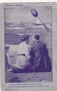 Spooners Delight Romantic Couple Sitting On Beach 1909