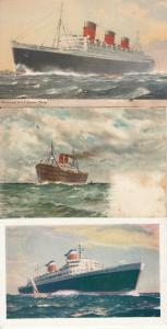 Houseboats cruisers Cunard Liner Queen Mary & New S. S. United States x 3