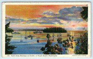 PUGET SOUND, Washington WA ~ Sunset View YACHT CLUB Moorings 1946 Postcard