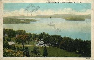 Bird's Eye View of Lake Bomoseen, Vermont, VT, 1933 Vintage Postcard e113