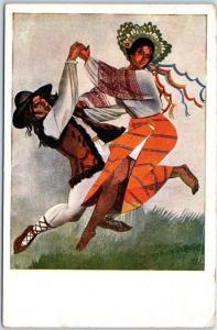 Vintage Krakow Poland Dance Postcard Artist-Signed Z. Stryjenska c1910s Unused