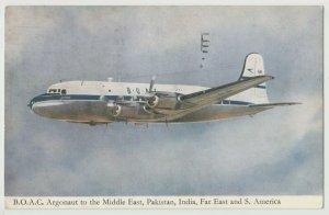 BOAC Argonaut DC-4 airplane prop Pakistan India Far Eas route t 1953 Postcard