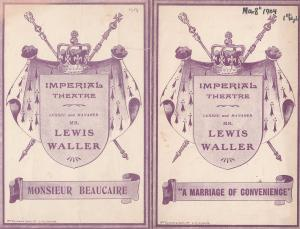 A Marriage Of Convenience Monsieur Beaucaire Lewis Waller 2x Theatre Programme s