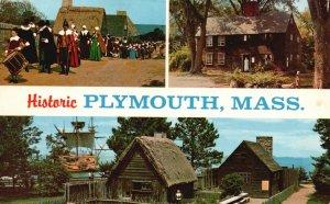 Historic Plymouth, Mass, MA, Multi View, 1968 Chrome Vintage Postcard h1333