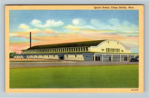 Camp Shelby MS-Mississippi, Sports Arena, Linen Postcard
