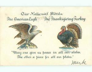 Pre-1907 thanksgiving PATRIOTIC - NATIONAL BIRDS - EAGLE & TURKEY o3188