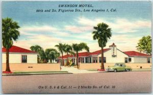 Los Angeles, CA Postcard SWENSON MOTEL 88th & South Figueroa Street Linen c1950s