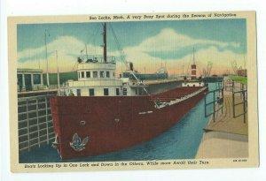 Postcard Soo Locks Michigan Season of Navigation Boats Locking Up VPC01.