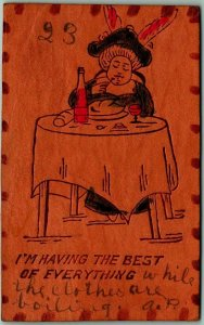 1906 LEATHER Comic Greetings Postcard Having the Best of Everything Food Wine