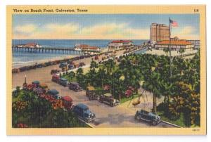 Galveston TX Beach Front Cars Vintage Linen Postcard Tichnor