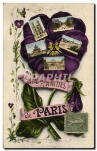 Paris - Remembrance - Thought - Pansy - Best Amities Old Postcard