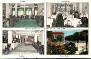Florida Jacksonville Hotel Windle Parlor Restaurant Lobby and Park Scene