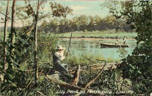 Erie Pennsylvania~Lily Pond On Peninsula~Birdwatcher on Bank~1910 Postcard