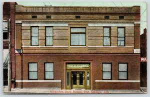 Hot Springs Arkansas~Alhambra Bath House~Close View of Front~1908 Postcard