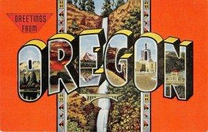 OREGON Large Letter Linen Mt. Hood, Capitol, Crown Point c1940s Vintage Postcard