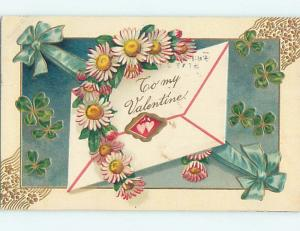 Divided-Back valentine ENVELOPE WITH FLOWERS AND GREEN RIBBON o5092