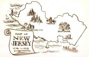New Jersey, USA Bicentennial Map Unused