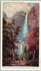 Vintage Yosemite National Park Postcard YOSEMITE FALLS Prudential Insurance Ad
