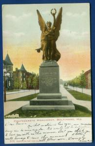 Baltimore Maryland md Confederate Monument 1906 undivided back postcard