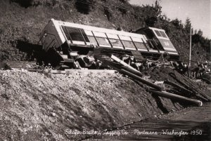 WA - Montesano.. Train Wreck, 1950. Schafer Bros. Logging Co.  (5.75 X 4 Ph...