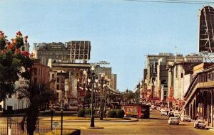 New Orleans Louisiana~Canal Street~J&P Bar~Trolleys~1950s Cars~Postcard