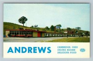 Cambridge OH-Ohio, Andrews Motel & Restaurant, Chrome Postcard