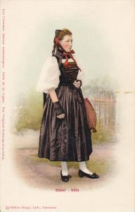 Woman from Basel - Bale wearing typical costume, Switzerland, 00-10s
