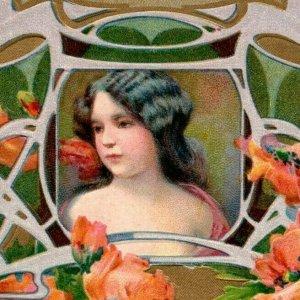 C. 1907 Art Nouveau Fab Girl Birthday German Made Postcard F93