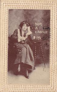 Not a chance, Woman wearing a dress talking on the phone, PU-1910