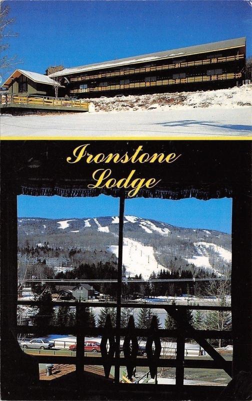 Mt Snow Vermont~Snow on Ground~Ironstone Lodge~1950s Postcard