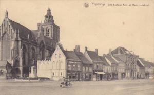 POPERINGE, West Flanders, Belgium, 1900-1910's; Sint Bertinus Kerk En Markt