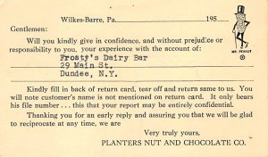 Advertising Post Card Planters Nut & Chocolate Co Rochester, NY, USA 1959
