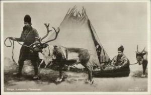 Norway Norge Ethnic Costume Sami Laplanders Reindeer Real Photo Postcard