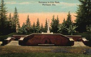 Vintage Postcard 1910's Entrance City Park Recreational Ground Portland Oregon