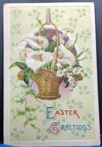 Easter Greeting Basket Lilies Lily Flower White 1914 Antique Postcard