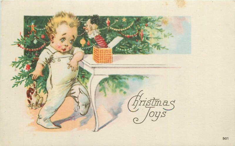 Christmas toys scarry harlequin box baby boy caricature 1922 postcard