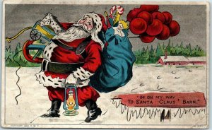 Vintage Christmas Greetings Postcard I'm on My Way to SANTA CLAUS' BARN c1908