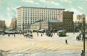 Leighton Market Square Trolley Providence Rhode Island 1909 Postcard 10325