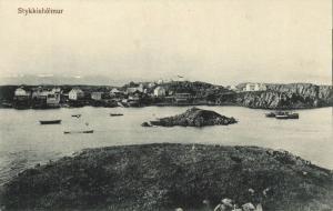 iceland, STYKKISHÓLMUR, Snæfellsnes Peninsula, Panorama (1910s) Postcard