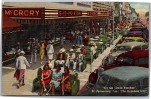 Green Benches of St. Petersburg FL, McCrory c1945 Vintage Postcard H10